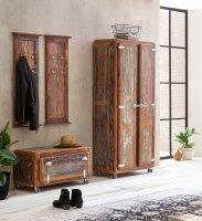 Vintage Massivholz Dielen-Set Schuhschrank Garderobe Kleiderschrank