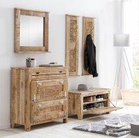 Vintage Dielen-Set gr.Schuhschrank kl.Schuhschrank Garderobe Spiegel